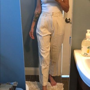 Vintage high waist linen silk blend pant